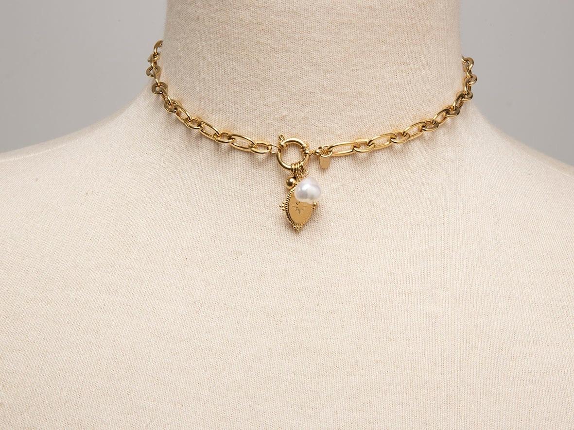 Cadena Eslabón Perla y Colgante