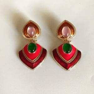 Pendientes Esmaltado doble Pica Multicolor Piedra Roja